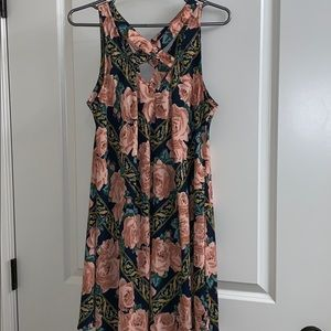 Umgee floral print cross neck dress/tunic